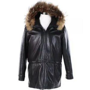 Andrew Marc Leather Jacket Raccoon Fur Hood L